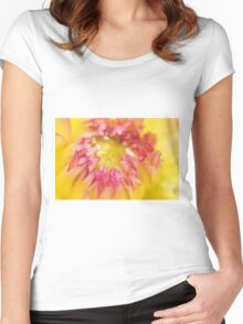 Pink and Yellow Dahlia, As Is Women's Fitted Scoop T-Shirt