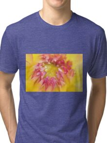 Pink and Yellow Dahlia, As Is Tri-blend T-Shirt