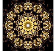A Golden Fractal Fantasy Kaleidoscope Ring Photographic Print