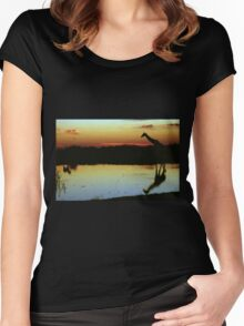 Giraffe at Sunset, Etosha, Namibia  Women's Fitted Scoop T-Shirt