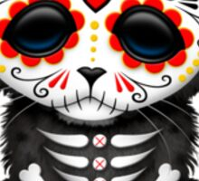 Red Day of the Dead Sugar Skull Panther Cub Sticker
