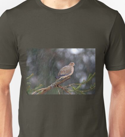 Mourning Dove Songbird - Zenaida macroura on Evergreen Unisex T-Shirt