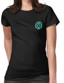 Abstract Surreal Chaos theory in Modern poison turquoise green Womens Fitted T-Shirt