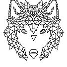 Wolf Face triangles poster illustration  by ScottBarker