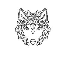 Wolf Face triangles poster illustration  Photographic Print