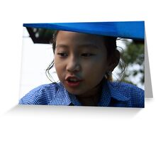 The Girl in Blue Greeting Card