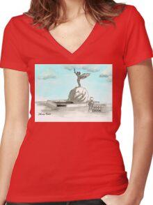 Daily Doodle 28- En Plein Air - Jacksonville Memorial Park Women's Fitted V-Neck T-Shirt