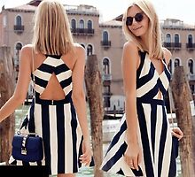 The New Black and White Striped Back Side Cross Sexy Sleeveless Vest Short Dresses by voguestorm