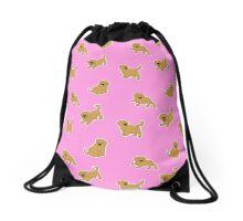 Golden Retriever Puppy Pattern - Pink Drawstring Bag