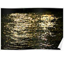 golden leaflets of light on the water's surface Poster