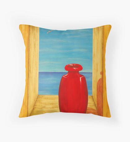 Red Vase Throw Pillow