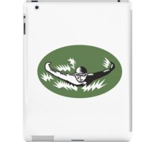 Swimmer Butterfly Stroke Swimming Woodcut iPad Case/Skin