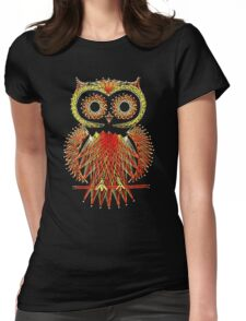 String Art Owl Womens Fitted T-Shirt