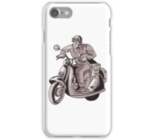 Messenger Riding Scooter Woodcut iPhone Case/Skin