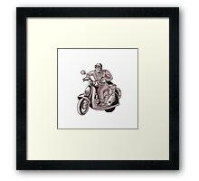 Messenger Riding Scooter Woodcut Framed Print