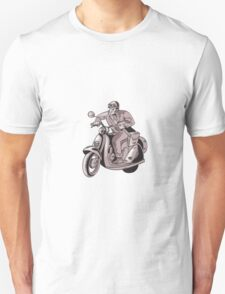 Messenger Riding Scooter Woodcut T-Shirt