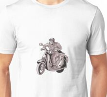 Messenger Riding Scooter Woodcut Unisex T-Shirt
