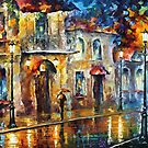 old town - original art oil painting By Leonid Afremov by Leonid  Afremov
