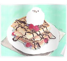 Waffles with Vanilla Ice Cream Birdie  Poster