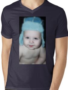 Baby Wearing A Blue Hat  Mens V-Neck T-Shirt