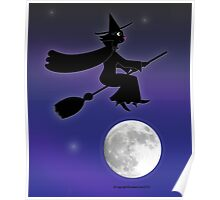 Black Cat Witch Flying Over Moon Poster