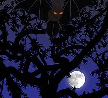Red-Eyed Bat Flying in Tree by SeaSerpent
