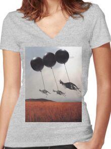 Black Balloons Women's Fitted V-Neck T-Shirt