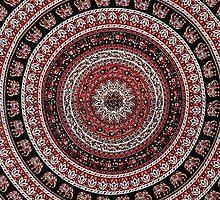 Tapestry Elephant Red Background by mlandsberg116