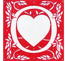 Red Heart Letter O Photographic Print