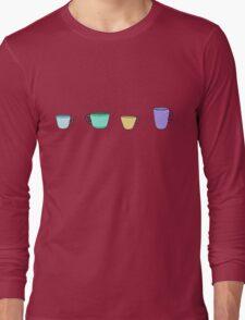 colorful tea coffee cups Long Sleeve T-Shirt
