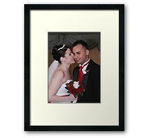 Bride and Groom Whispering Secrets Framed Print