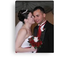 Bride and Groom Whispering Secrets Canvas Print