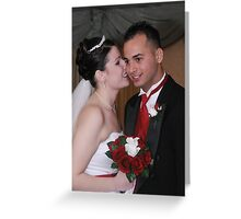Bride and Groom Whispering Secrets Greeting Card