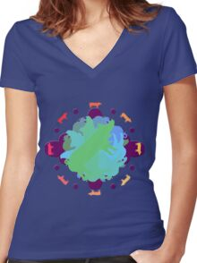 World of Pigs Women's Fitted V-Neck T-Shirt