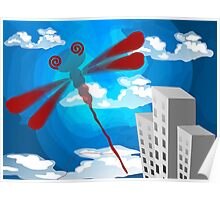 Digital painting a dragon fly in the sky. Poster