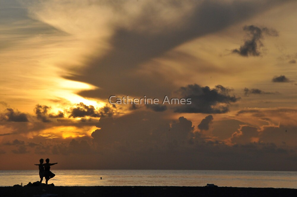 yoga and sunrise by Catherine Ames