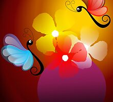 butterflies with flowers. by tillydesign