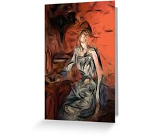 woman in blue dress Greeting Card
