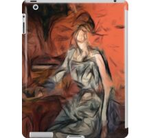 woman in blue dress iPad Case/Skin