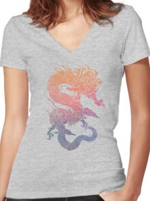 Colourful Chinese Dragon Women's Fitted V-Neck T-Shirt