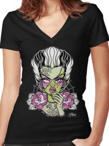 Frankenstein's Bride  Women's Fitted V-Neck T-Shirt