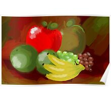 Digital painting of fruits Poster