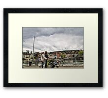 walking by the river Framed Print