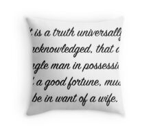 Pride and Prejudice Opening Throw Pillow