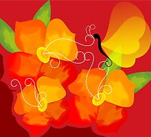 Digital painting of butterfly in red background by tillydesign