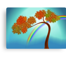 Digital painting of a tree with rainbow Canvas Print