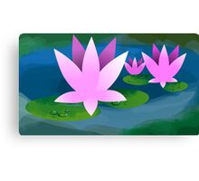 Digital painting of lotus in a pond Canvas Print