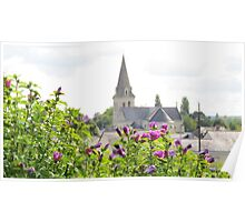 Flowers and a church Poster