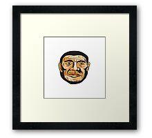 Neanderthal Man Head Etching Framed Print