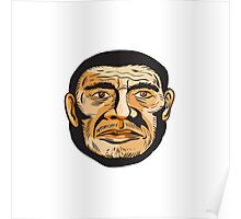 Neanderthal Man Head Etching Poster